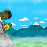 Two cartoon snails climbing a mountain